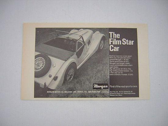 =-=Original Morgan Plus 8 Advert from 1969 - Half-Page Sports Car Ad Advertisement