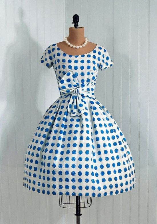1950's Crisp-White and Blue Polka-Dot Silk Party Dress  From TimelessVixenVintage