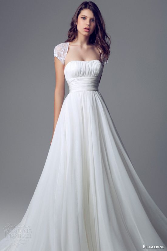 blumarine bridal 2014 ruched bodice wedding dress cap sleeve shrug