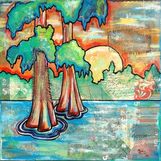 Louisiana Bayou D'Arbonne Sunset mixed media Painting Art by Melanie Douthit