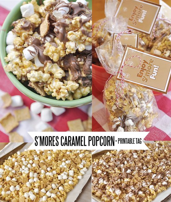 S'mores Caramel Popcorn + printable tag. Mmm!