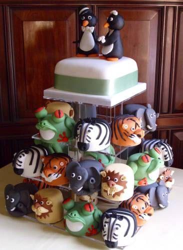 Zoo cake safari animals penguins;