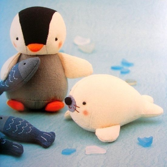 supper cute stuffed penguin and baby seal