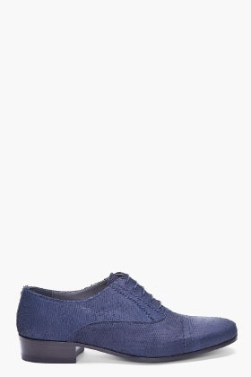 LANVIN - Men's Navy Scaled Leather Shoes