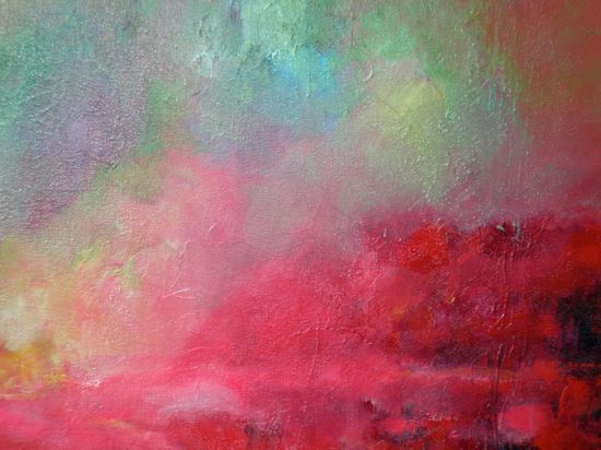 """Abstract Art, Pink Red Sky  Oil Painting Original Landscape """"Sunrise in the Tropics"""""""