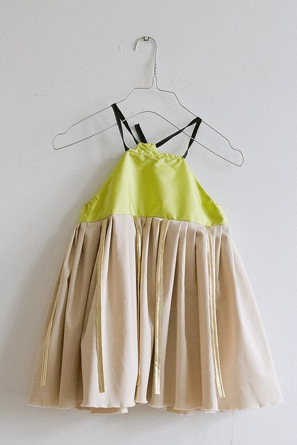 Dress with neon yellow.
