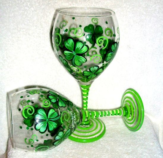 SALE / Handpainted Wine Glasses 4 leaf clover,Shamrocks, St.Patricks Day  Hand painted Set of  2/ 20 oz..Made to Order on Etsy, $40.00