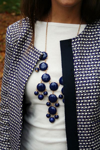 blue bubble necklace + tweed jacket