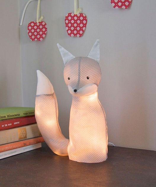 This is such a cute idea! Take a stuffed animal (one without fur) paint it over with craft goo called Stiffy, yank the stuffing out and replace it with a string of LED lights and you've made an adorable night light for your favorite kid, or heck, yourself!