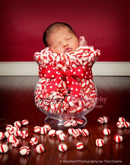 newborn photography christmas candy