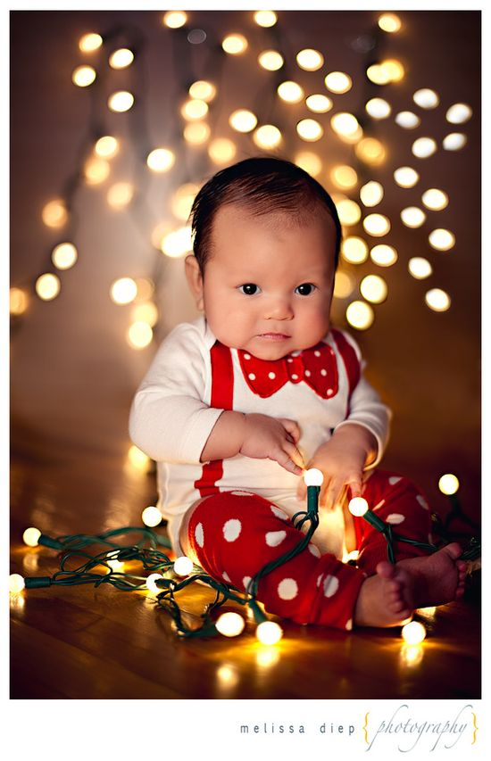 Baby photo with Christmas lights