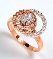 Rose Gold Motion Ring with Champagne Diamonds