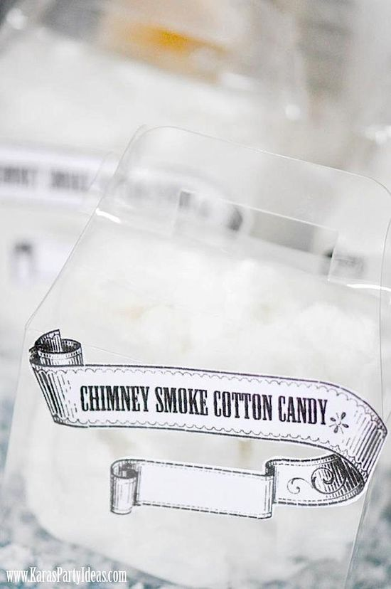 So cute! Chimney Smoke Cotton Candy! Up on the Housetops Holiday Christmas Party via Kara's Party Ideas- www.KarasPartyIde...