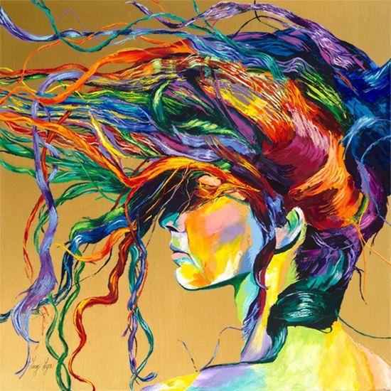 "Saatchi Online Artist: Linzi Lynn; Acrylic, 2012, Painting ""WINDSWEPT""    I love the colors"