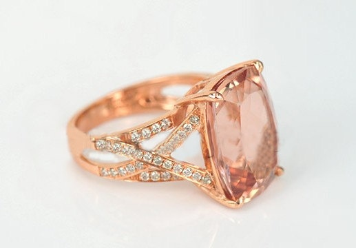 Engagement Ring  35 Carat Morganite Ring With by stevejewelry, $1080.00