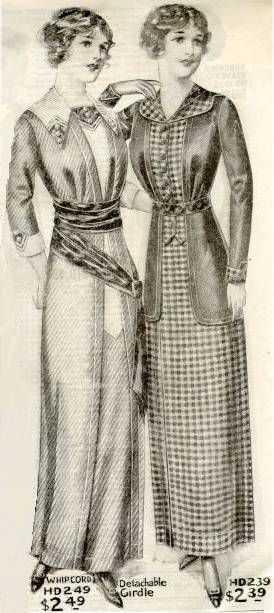 Illustration of two girls in day dresses from a 1910 catalog in my collection.