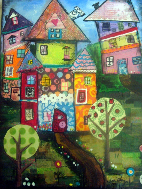 """This piece is titled """"As for me and my house"""". It is an origianl mixed media collage assembledge piece done with various colorful papers, buttons, acrylic paints, and ink. The grass was made with pieces of magazine pages in various shades of green. It has been sealed with acrylic sealer."""