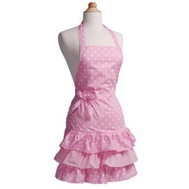 SERIOUS WISH LIST ITEM!! Adorable sweet pink polka dot apron! Want!!!