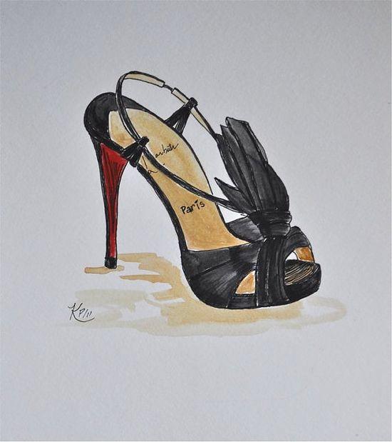 Original illustration   Louboutin heel fashion by KIMPETERSONART, $24.00