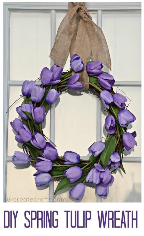 DIY spring Tulip Wreath