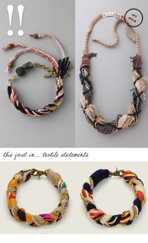FABRIC PLACE { textile jewlery is in for fall }