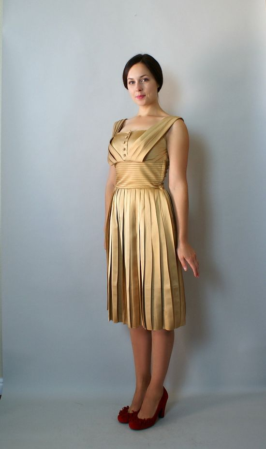Lovely! Vintage 1960s Gold Satin Party Dress from Sweet Bee Finds on Etsy.