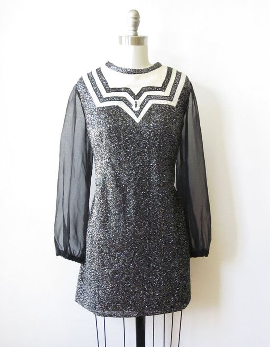 vintage 1960s metallic mod dress