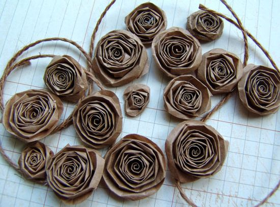 Upcycled Recycled Paper Bag handmade paper flowers by ilovethis