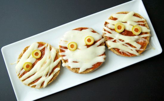 Mummy Pizzas for Halloween food!