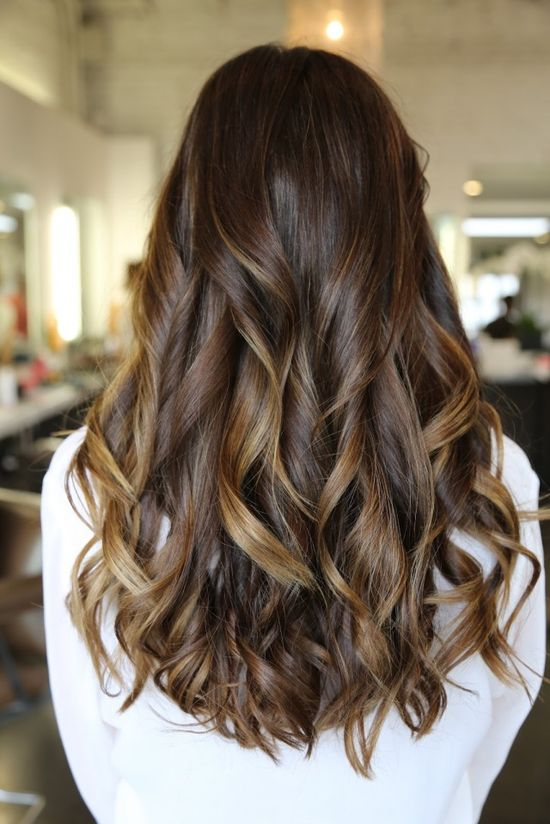 dark brunette with caramel highlights