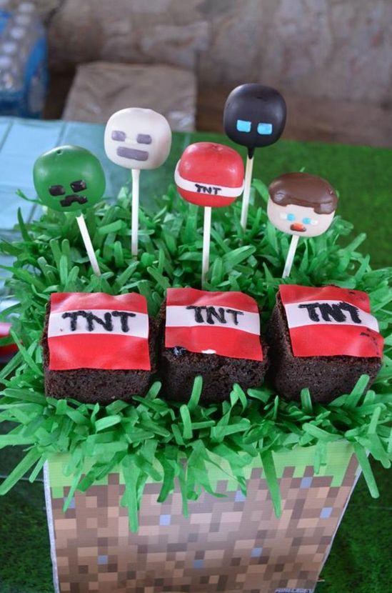 Cake pops at a Minecraft Party with Full of Awesome Ideas via Kara' s Party Ideas KarasPartyIdeas.com #TweenParty #Minecraft #GamingParty #PartyIdeas #PartySupplies #CakePops