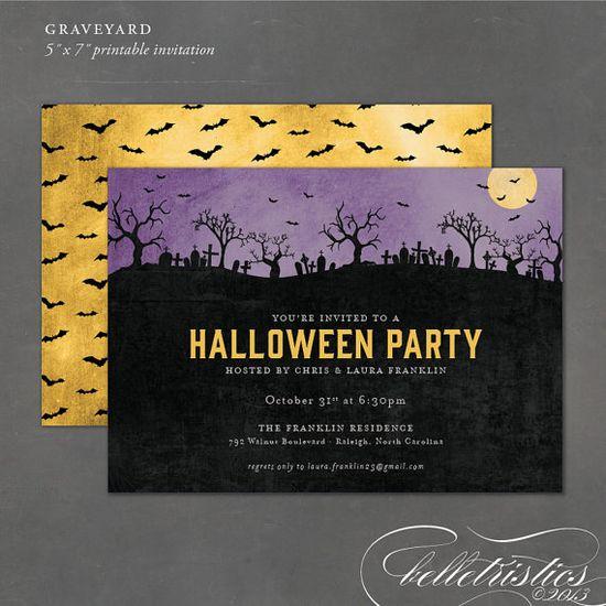 Printable Halloween Invitation, haunted graveyard invite, cemetery invitation, halloween party