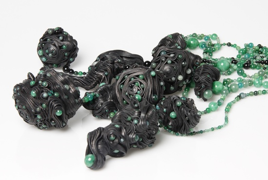 "Anes Kim - ""An Emerging Creature is a project that is interested in invigorating jade through the use of leather in a contemporary way and with a wild combination of materials. """