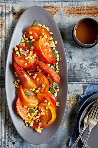 Tomato & Grilled Corn Salad With Sriracha Vinaigrette by Helene from Tartelette