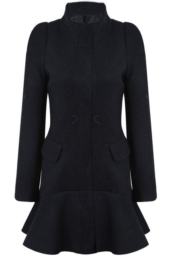 Black Stand Collar Long Sleeve Pockets Ruffle Coat - Sheinside.com - $56
