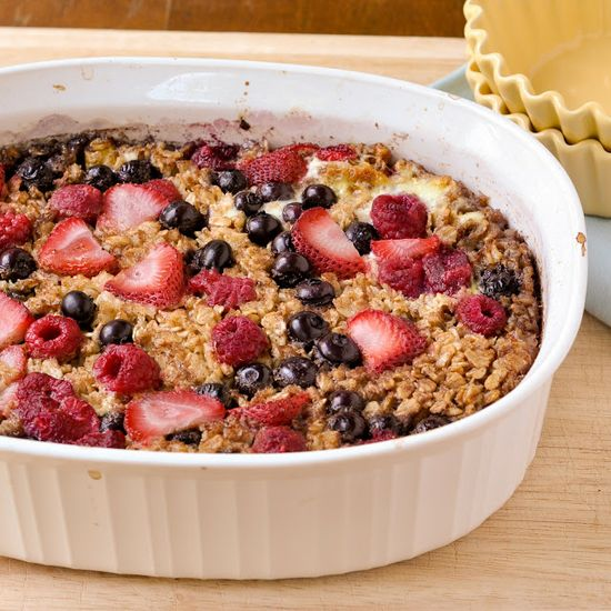 Fresh Fruit Baked Oatmeal - So delicious! I cut blueberries, raspberries, and strawberries a day before which made them much sweeter. Next time I would take out the honey since it was plenty sweet.