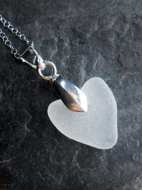 Sea Glass Jewelry - Beach Glass Pendant Necklace - BE MINE.