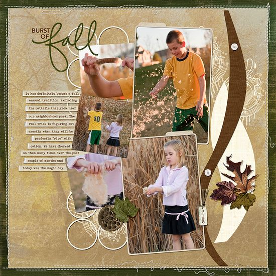 #papercraft #scrapbook #layout.   Burst of Fall, by digisis Michelle.