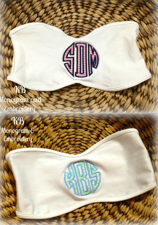 Monogram Applique Bandeau Bikini Top