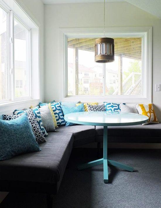 Nautical decor utilizing multiple blue pillows...Love the idea!  #nautical #blue #decor #pillow #beach
