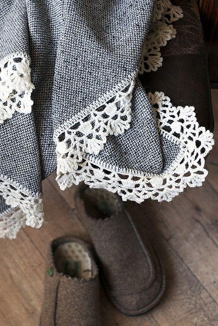Crochet edged blanket