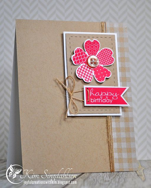 Happy Birthday Flower in Strawberry from Joyful Creations with Kim.  Stamps by Stampin' Up.
