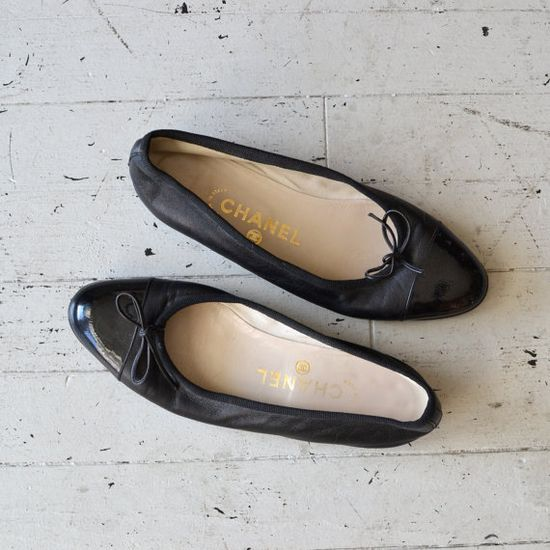 Chanel ballet flats / two tone leather flats / by DearGolden, $250.00