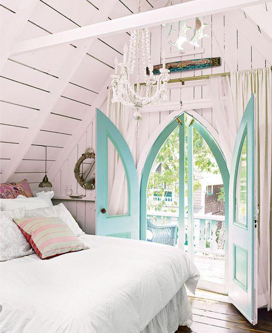 Cottage, beach cottage bedroom. Aqua doors