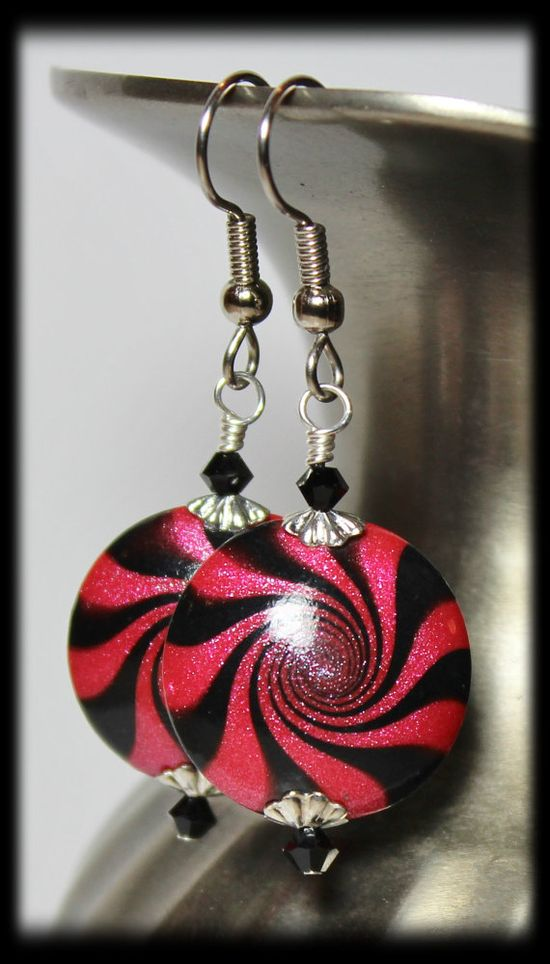 Raspberry Swirl... Handmade Earrings