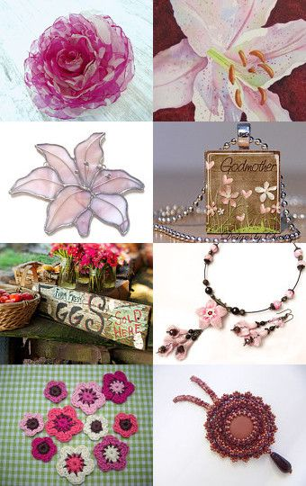 Handmade Flowers in Pinks and Browns by EyeGlo Art