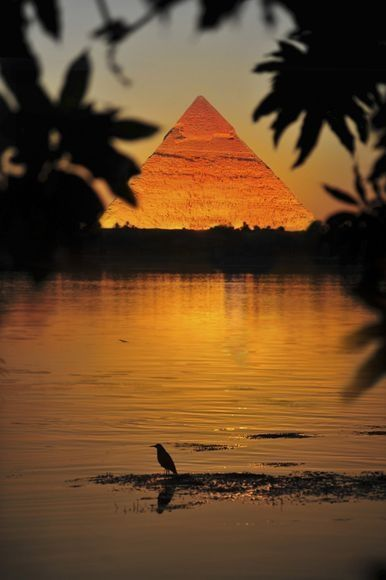 Great Pyramid of Giza by the Nile River
