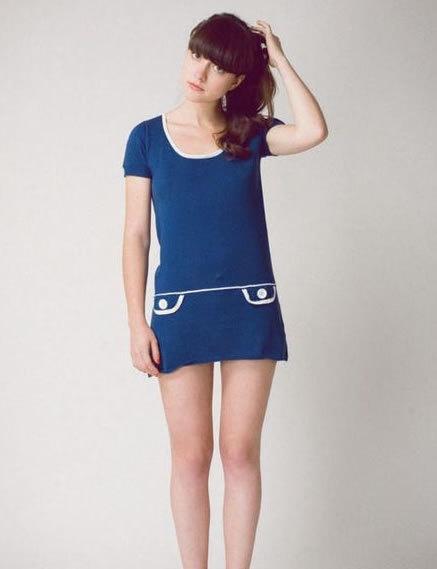 60s mod dress, blue and white