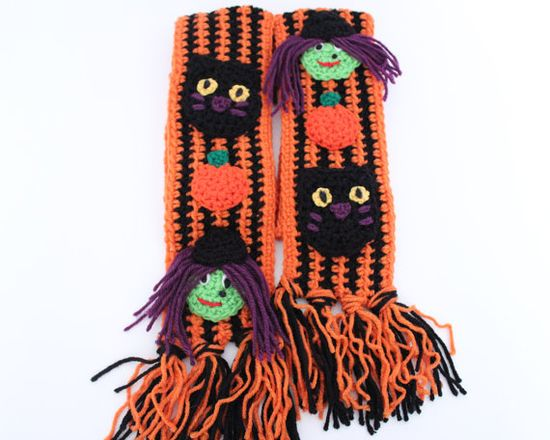 Halloween Crochet Scarf Witch and Black Cat by MsAmandaJayne