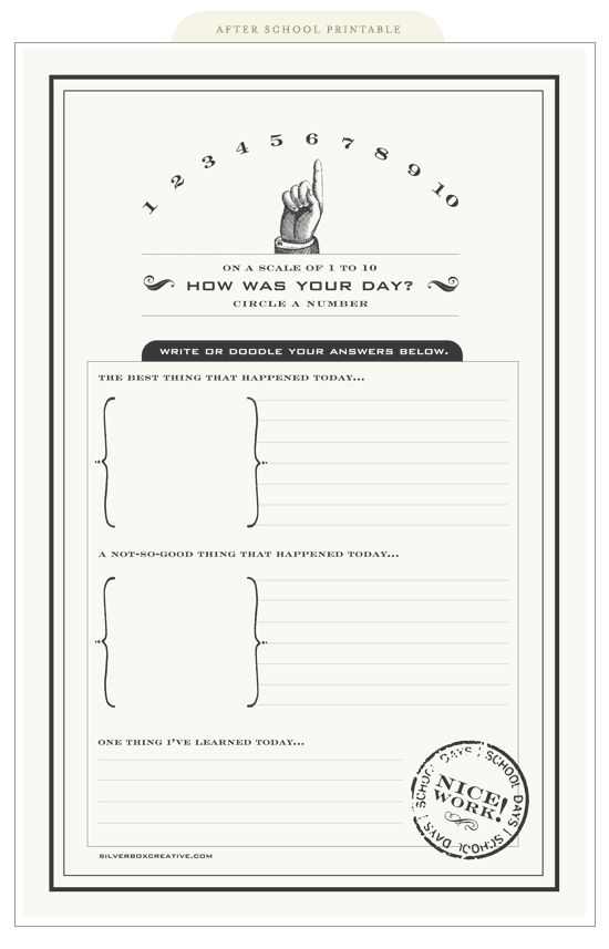"""How was your day? printable - use in Project Life album"